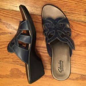Clarks Leather Wedge, Blue